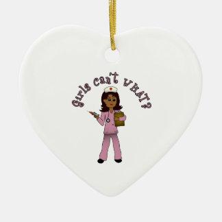 Nurse in Pink Scrubs (Dark) Ceramic Heart Decoration
