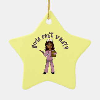 Nurse in Pink Scrubs (Dark) Ceramic Star Decoration