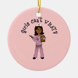 Nurse in Pink Scrubs (Dark) Round Ceramic Decoration