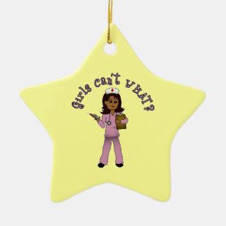 Nurse in Pink Scrubs (Dark) Ornament