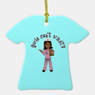 Nurse in Pink Scrubs (Dark) Ceramic T-Shirt Decoration