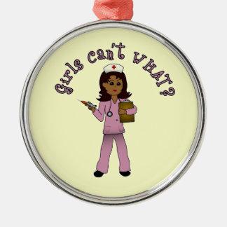 Nurse in Pink Scrubs (Dark) Silver-Colored Round Decoration