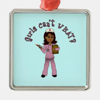 Nurse in Pink Scrubs (Dark) Silver-Colored Square Decoration