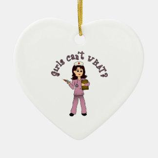 Nurse in Pink Scrubs (Light) Ceramic Heart Decoration