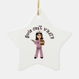 Nurse in Pink Scrubs (Light) Ceramic Star Decoration