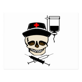 NURSE JOLLY ROGER PIRATE WITH IV BOTTLE POSTCARDS