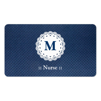 Nurse Lace Monogram Blue Pattern Pack Of Standard Business Cards