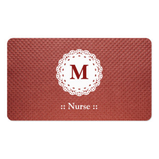 Nurse Lace Monogram Maroon Pack Of Standard Business Cards