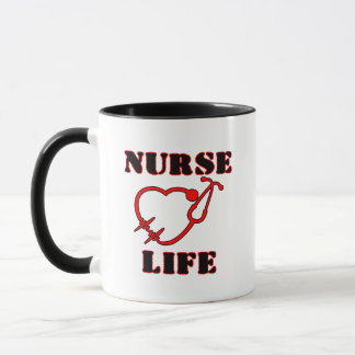Nurse Life Mug with stethoscope in heart shape