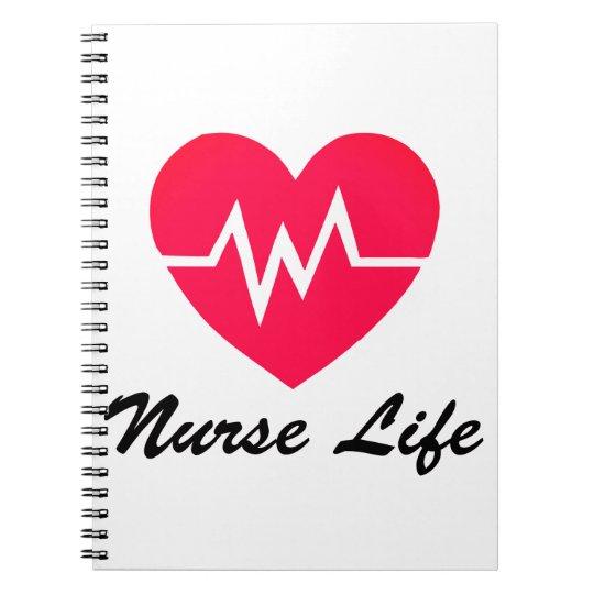 Nurse Life Red EKG Heart Notepad Notebook