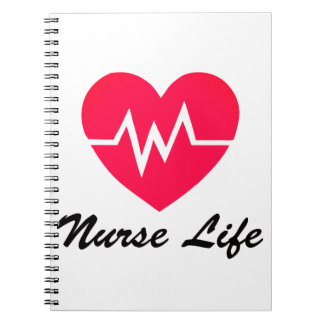 Nurse Life Red EKG Heart Notepad Spiral Note Books