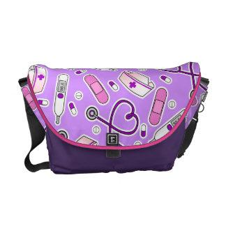 Nurse Love Pattern Purple Messenger Bag