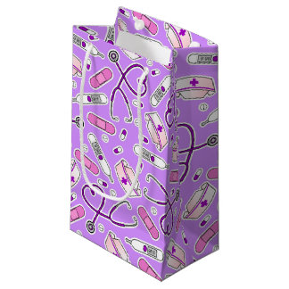 Nurse Love Print Purple Background Small Gift Bag