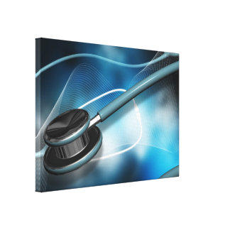 Nurse Medical Stethoscope Stretched Canvas Print
