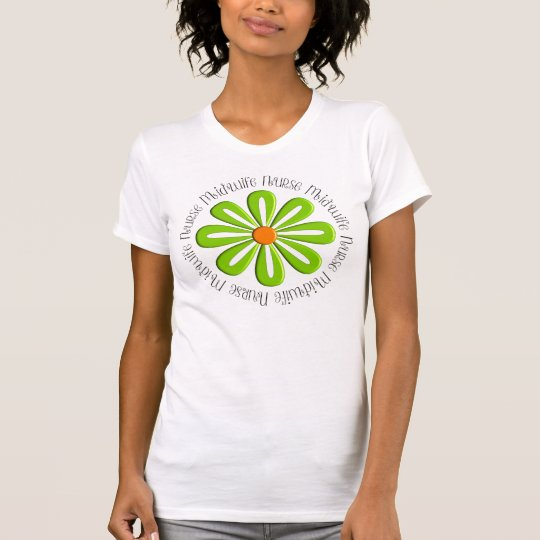Nurse Midwife T-Shirts Retro Green Flower