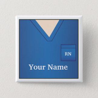 Nurse Name Blue Scrubs Square Button