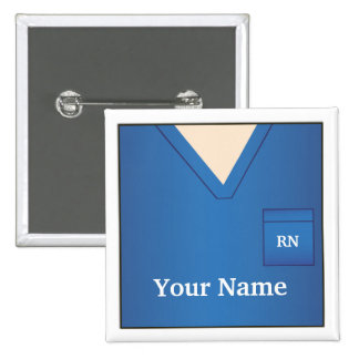Nurse Name Blue Scrubs Square Button