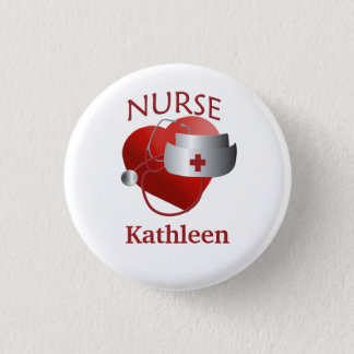 Nurse Name RN Round Heart Button