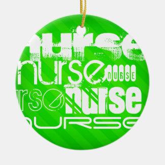 Nurse; Neon Green Stripes Round Ceramic Decoration