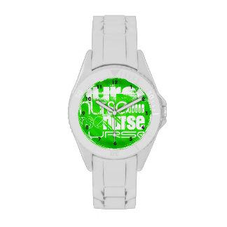 Nurse; Neon Green Stripes Wristwatches