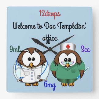nurse owl & doc owl square wall clock