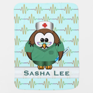 nurse owl receiving blankets