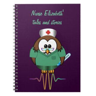 nurse owl spiral notebook