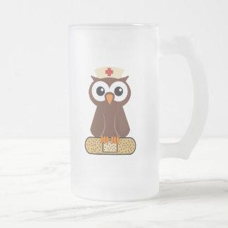 Nurse Owl (w/bandaid) Frosted Glass Mug