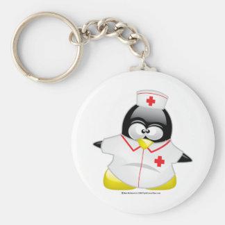 Nurse Penguin Basic Round Button Key Ring