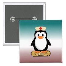 Nurse Penguin (w/bandaid) Pinback Buttons