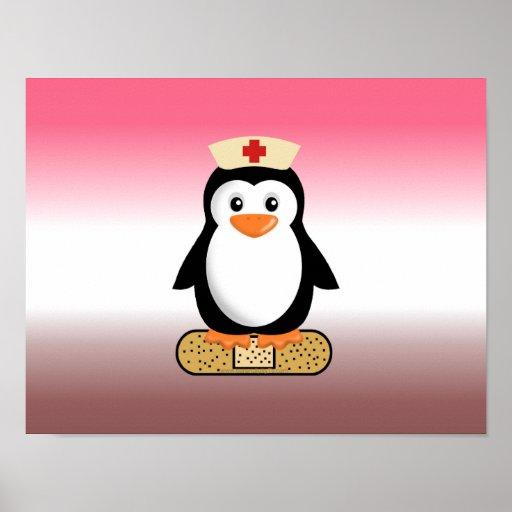 Nurse Penguin (w/bandaid) Print