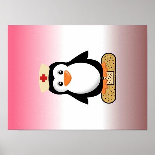Nurse Penguin (w/bandaid) Posters