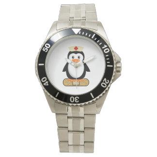 Nurse Penguin (w/bandaid) Wrist Watches