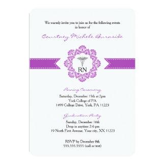 Nurse pinning or graduation party RN BSN purple 13 Cm X 18 Cm Invitation Card