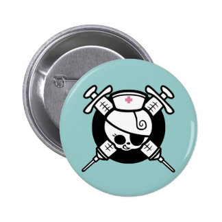 Nurse Pirate and Cross Hypos 6 Cm Round Badge