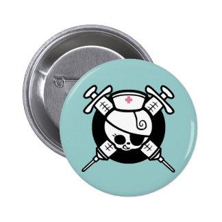Nurse Pirate and Cross Hypos 6 Cm Round Badge