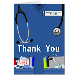 Nurse Pockets Thank You In Dark Blue Card