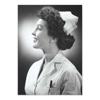 Nurse Posing 13 Cm X 18 Cm Invitation Card