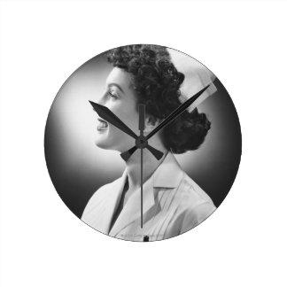 Nurse Posing Round Clock