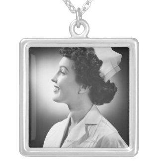 Nurse Posing Silver Plated Necklace