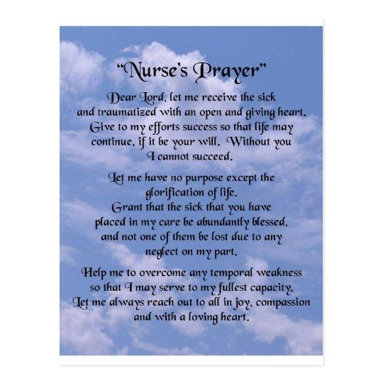 nurse prayer postcard