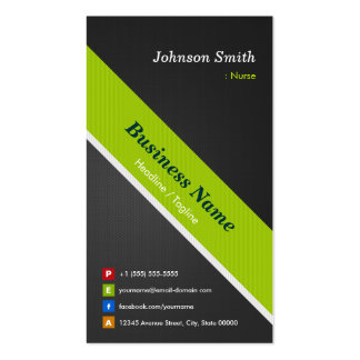 Nurse - Premium Black and Green Pack Of Standard Business Cards