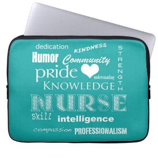 Nurse Pride-Attributes/Aqua Blue-13 inch Computer Sleeve