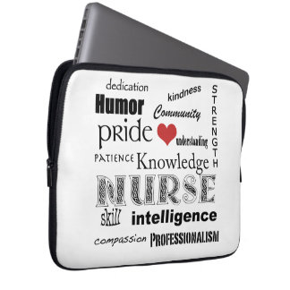 Nurse Pride-Attributes/Black+White-13 inch Laptop Sleeve