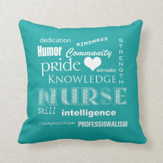 Nurse Pride-Attributes/Blue-Green Throw Cushions