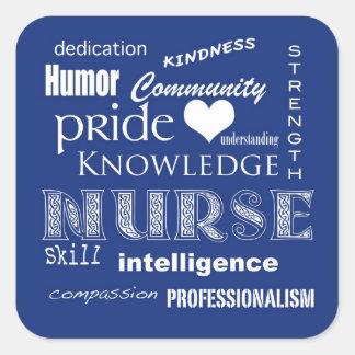 Nurse Pride Attributes-Blueberry Square Sticker
