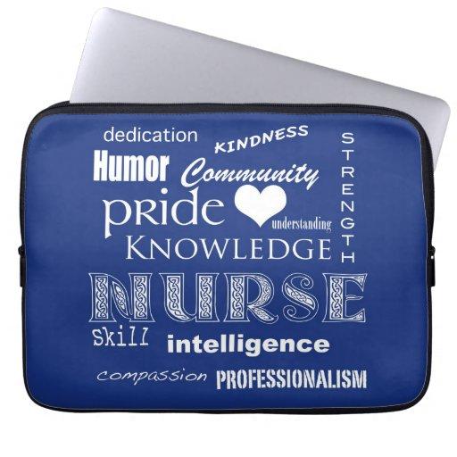 Nurse Pride-Attributes/Dark Blue-13 inch Laptop Sleeve