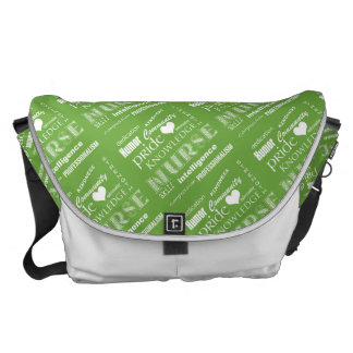 Nurse Pride-Attributes/Green+White Heart Commuter Bags