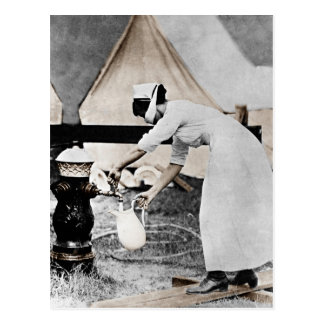 Nurse Pumping Water Postcard
