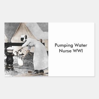 Nurse Pumping Water Rectangular Sticker